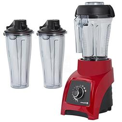 Vitamix S50 Red 40 Ounce Blender with Two 20 Ounce Travel Cu