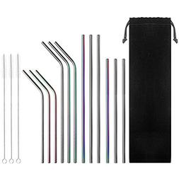 Set of 12 Stainless Steel Drinking Straws, CBTONE Reusable M