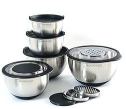 Rorence Stainless Steel Mixing Bowl Set of 5 with Graters &