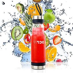 Oct17 Tea Infuser Glass Water Bottle - Hot and Cold Fruit Dr