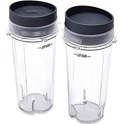 TWO 16oz Nutri Ninja Blender Cup with Lid Replacement - Fits