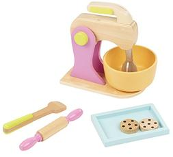 Blue Panda Wooden Kitchen Mixer Toy - 7-Piece Pretend Play C